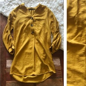 Zara | Mustard Yellow Tortoise Button Tunic Top